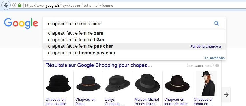 expressions clés proposées par google